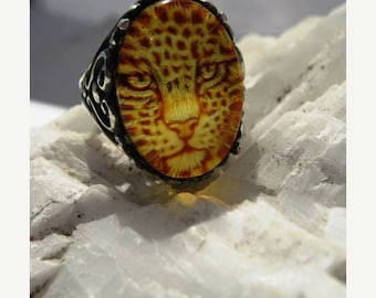 Summer time Sale Event Genuine Carved Amber Jaguar Cat Ring Sterling Silver Scroll Intaglio Cameo handmade fine jewelry custom half sizes 4
