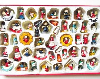 Kurt Adler Miniature Wood Christmas Ornaments, Vintage Set of 48