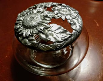 Pewter and Glass Potpourri or Candy, Trinket Dish LARGE by Seagull VINTAGE 1994 Signed by Etain Zinn Artist-Comes with Homemade Potpourri