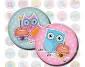 Owls Birthday Party 1 inch circle digital collage sheet. Owl bottle cap printable digital image. Round kids party cupcake topper download
