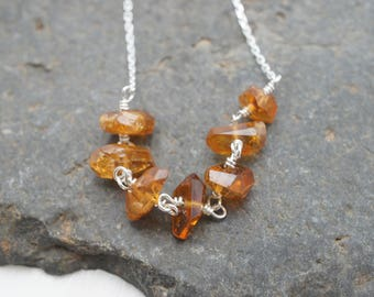 Amber Waves Necklace - Tourmaline Nuggets and Sterling Silver