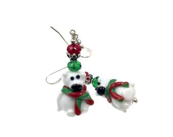 Polar Bear Earrings, Christmas Earrings, Lampwork Earrings, Glass Bead Earrings, Christmas Lampwork Jewelry, White Teddy Bear Earrings
