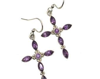 Amethyst Sterling Silver Earrings, Gemstone Earrings, Gemstone Jewelry, Cross Earrings, Semi-Precious Stone Earrings
