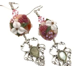 White Flower Lampwork Earrings, Artisan Labradorite Gemstone Earrings, Glass Bead Earrings, Lampwork Jewelry, Gift Idea, Drop Earrings