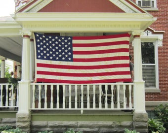 """Large Vintage American Flag -  50 Star Flag Cotton - Embroidered Stars - Best Valley Forge 56"""" x 106"""" -"""