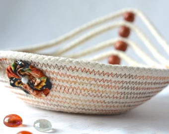 Cute Desk Accessory Bowl, Handmade Gift Basket, Lovely Eyeglass Tray, Fall Decoration, natural rope basket, clothesline bowl
