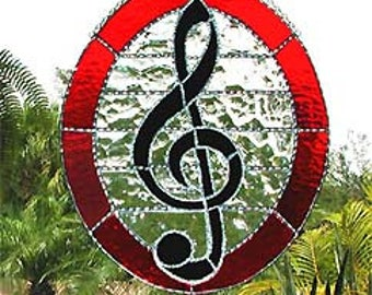 "Musical Symbol Stained Glass Suncatcher Design - Treble Clef - Handcrafted Glass Sun Catcher  - 10"" x 12"" - 9567-RD"
