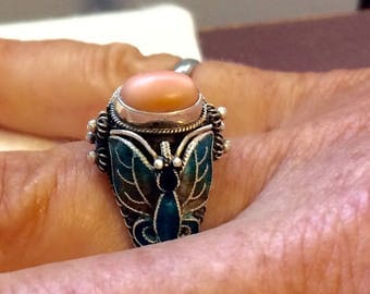 Vintage Coral Sterling Painted Enamal Butterfly Ring Made in China Size 6 1/2