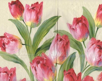 3301 lot 2 red and pink tulips paper napkins