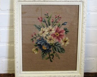 Vintage Creamy White Painted Wood Framed Completed Rose Beige and Blue Floral Needlepoint