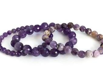 Amethyst Bracelet Stack - Stretchy gemstone bracelets, stretch amethyst bracelets, amethyst stretch bracelets, beaded bracelet stack, boho