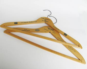 Vintage Clothes Hangers Dry Cleaner Laundry Advertisment Wood And Metal For Tops And Pants