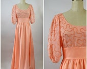1980s Party Dress by Victor Costa Orange Peach Embroidered Bodice Puffy Sleeves Big Bow Sash Size Small Prom Dress
