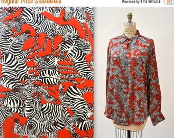 SALE 90s Zebra Animal Print Nicole Miller Silk Shirt Size Medium Large// Black White and Red Silk Shirt Blouse with Zebras
