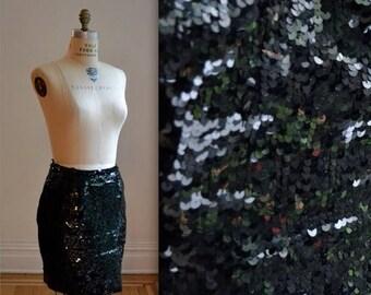 SALE Vintage Black Sequin Skirt Size Medium// Vintage Black Party Skirt