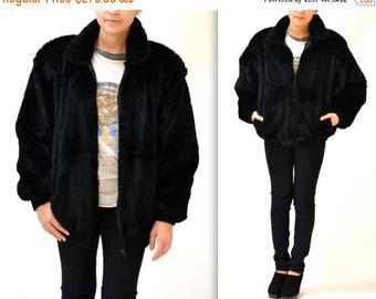 SALE Vintage Black Fur Jacket Size Large 80s 90s Black Beaver Fur Coat by Carole Little Large