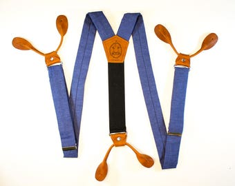 "1.25"" Navy Blue Button On Suspenders  // Mens Braces // Groom Outfit // Mens Suspenders //  Fancy Suspenders"