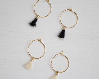 the Laurel -earrings (small halo hoop earrings with tassel minimal every day 16k gold plated)