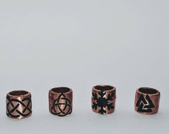 Copper hair bead with vinyl decal Viking Celtic Small