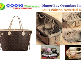 The Best Diaper Bag Organizer insert for mom, light weight, fit with LV Neverfull MM, faux suede light brown, ready to ship