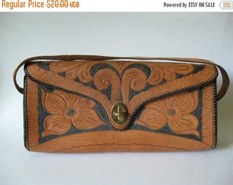 Summer Sale REDUCED Interesting slim roll bag tooled leather vintage purse Mexico floral detail black and tan VIC