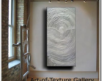 SALE Original Abstract Texture Painting 48 x 24 Modern White Silver Metallic Knife Oil by Je Hlobik