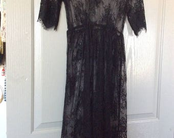 Long lace dress sheer Black sh slv delicate vtg no flaws
