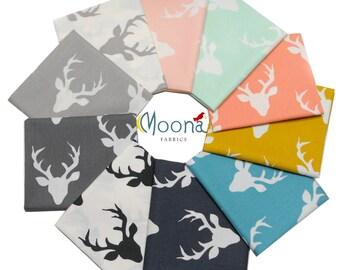 Fabric Bundle Woodland Baby, Rustic Deer Fabric, Deer Head, Art Gallery Fabrics, Buck Forest, Stag Head, Fat Quarters , Deer Antlers, Elk