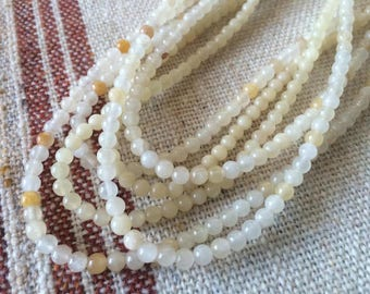 Natural Yellow Jade, 4mm beads, 16 inch strands