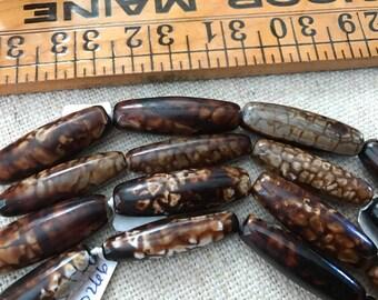 Coffee Crab Agate, Large Barrel, Tube, 40mm (4cm) x 14mm Bead, Pendant