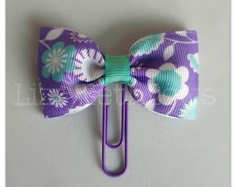 Purple & Aqua floral Planner clip, bookmark, planner bow clip, bow bookmark, purple teal white