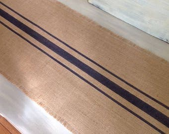 Burlap Table Runner Striped Dark Blue Grain Sack Burlap Tablerunner 10 to 14 x 36 Table Decor