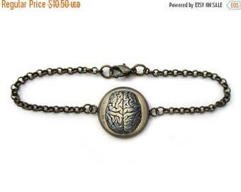 ON SALE Brain Bracelet Human Anatomy Science Jewelry Phrenology Chain Link Art Bracelet in Bronze or Silver
