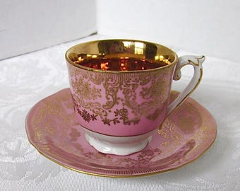 Pink, Gold, Demitasse Cup, Saucer, Royal Czechoslovakia, EPIAG, 1930s