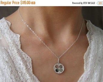 SALE Hydrangea Sterling Silver Necklace