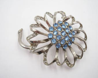 Large  blue rhinestone flower brooch