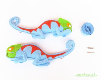 Animal curtain tiebacks (pair) Nursery decoration New baby gift Stuffed chameleons curtain holdbacks - MADE TO ORDER