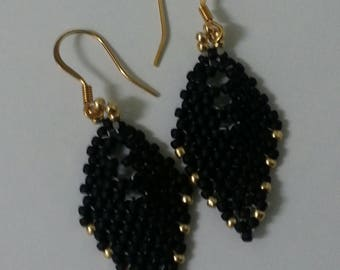 Dangle/Drop Earrings-Black/Gold Russian Leaf Earrings Handmade