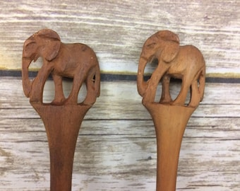 Carved Elephant Wooden Salad Utensils, Carved Wooden Fork & Spoon Servers, Elephants