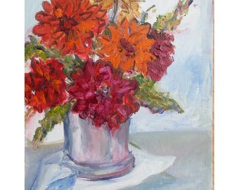 Original acrylic floral painting 10x8 Pewter Vase red orange and yellow flowers