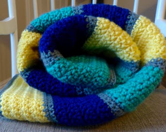 Yellow Green Blue Striped Blanket