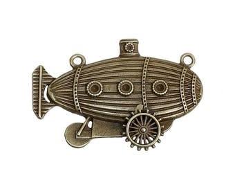 Submarine Charm Blimp Charm Steampunk Charm Steampunk Blimp Bronze Charm Bronze Pendant Connector Pendant