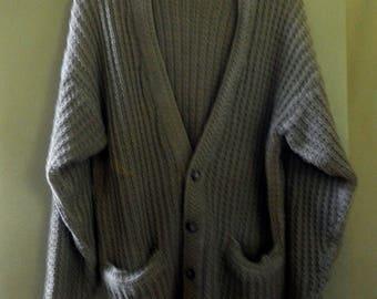 1980's Cardigan Sweater, Cotton/Ramie, Unisex style, mushroom beige