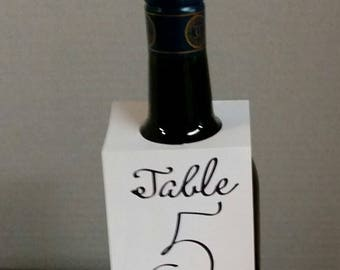 Wedding Wine Bottle Table Number Tags, Table Numbers, White with BlackTable Numbers