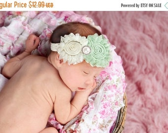 12% off Baby headband, newborn headband, adult headband, child headband and photography prop The double sprinkled- SWEETPEA headband