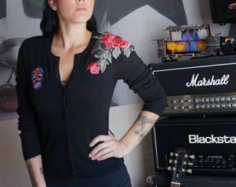 Olivia Paige - Black Sugar skull Embroidery tattoo roses  Pin up cardigan sweather
