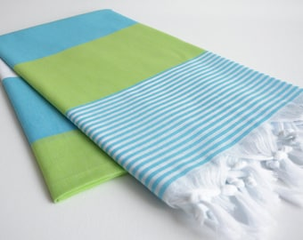 NEW / SALE 70 OFF/ Turkish Beach Bath Towel Peshtemal / Blue - Green / Wedding Gift, Spa, Swim, Pool Towels and Pareo