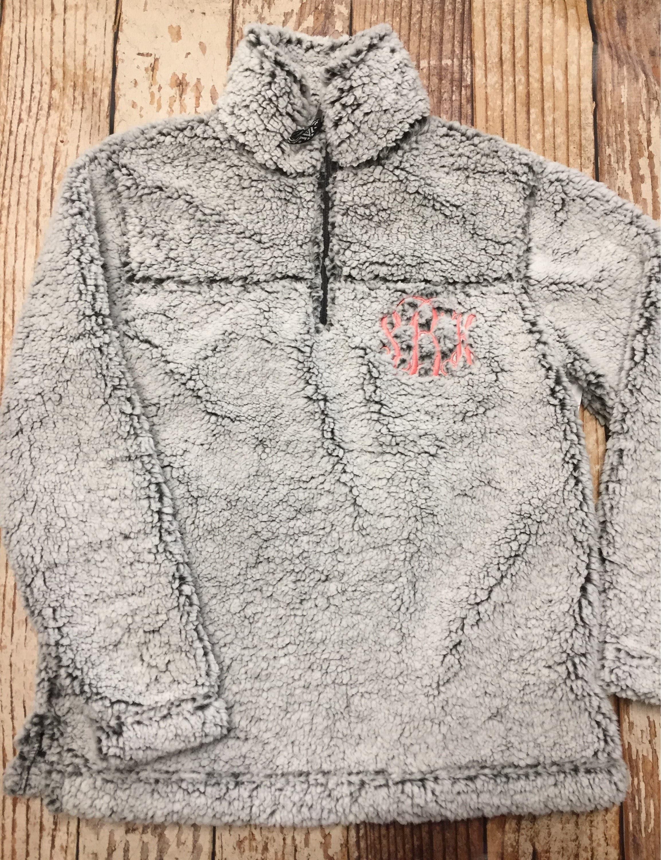 Monogrammed sherpa pullover jacket kids sherpa youth sherpa