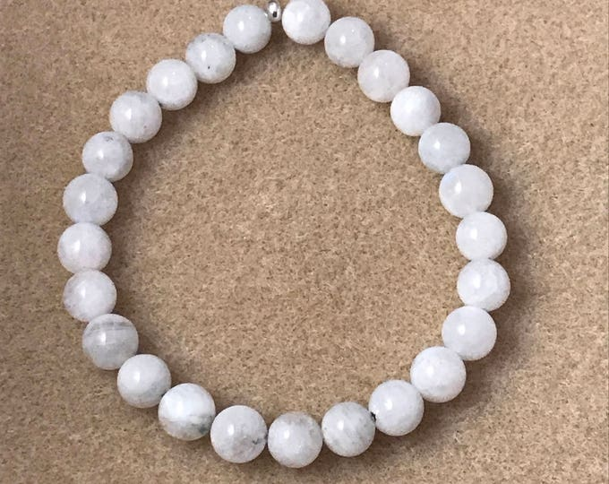 Rainbow Moonstone 8mm Round Bead Stretch Bracelet with Sterling Silver Accent