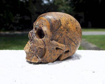 Elephant Skin Jasper Crystal Skull - Calligraphy Script Stone, Miriam Stone, Arabic Stone, crystal healing, altar tool, wiccan, wicca